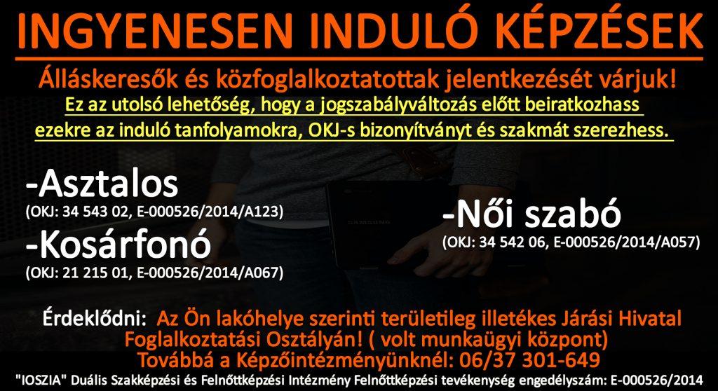 Jász-Nagykun-Szolnok megye - Ingyenes képzések - Felnőttképzés - felnottkepzes.hu - IOSZIA